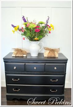 painted New Black by Valspar, satin clear coat and new hardware from Hobby Lobby…