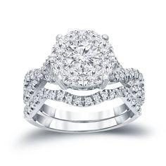 Auriya 14k 1 1/5ct TDW Cluster Diamond Braided Bridal Ring Set (H-I, I1-I2)