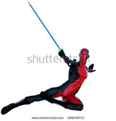 a young strong man in a red and black super suit. He jump kick the right leg and holding an iron sword in his right hand. 3D rendering, 3D illustration