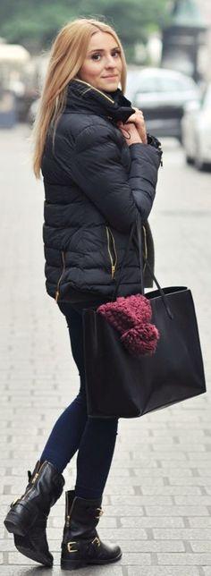 Black Puffer Jacket by Make Life Easier