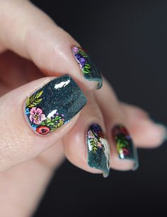 ILNP Mountain View + edgy floral nail art