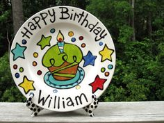 This listing is for a custom Birthday Plate. You can pick your colors and your text.  Create an heirloom for the future.  Wonderful and happy colors abound on this birthday plate!  Made just for you. And design in the center if you want something else just let me know.