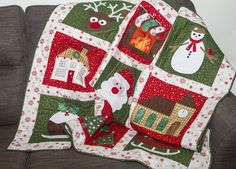 """Create this fun festive quilt for your Christmas celebrations. Applique your quilt using fabric scraps, then be creative and add your own embellishments to make the quilt special! Approximate finished size 47"""" x 47"""". Available as a download or by post."""
