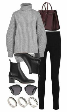 A fashion look from November 2016 featuring grey sweater, legging pants and christian louboutin boots. Browse and shop related looks. Look Fashion, Teen Fashion, Runway Fashion, Fashion Outfits, Fashion Trends, Fashion Scarves, Fashion Hacks, 1950s Fashion, Vintage Fashion