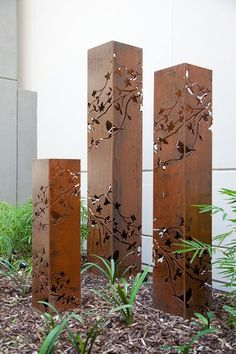 Lighting for backyard. Under day light, the rusty color is a eye catcher in the green garden, when it is dark, light up those laterns,those flowers and birds carving create beautiful shadow like haiku. gardening, lighting, landscaping