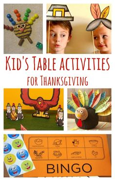 Thanksgiving Kid's Table Ideas (Recipes, Crafts, Games, and Decor) #games #kids