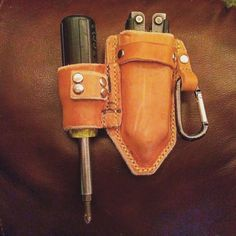 My first leather craft project... my new tool pouch. Very excited!!! #tools #toolbelt #leather #leathercraft #leatherwork #toolpouch