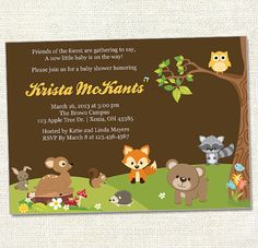 Woodland Baby Shower Invitations With Owls And Fox, Wood Grain Digital,  Printable File   Woodland Baby Showers, Woodland Baby And Shower Invitations