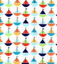 Snuggle Flannel Fabric-Baby Sailboats