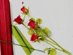 D.I.Y - How to make real paper flower - Roses - Làm hoa hồng bằng giấy nhún - YouTube