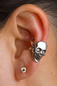 Skull Ear Cuff Silver Skull And Crossbone Ear Cuff by martymagic, $49.00