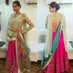 How to wear Sonam Kapoor Double pallu saree in a Double Drape Style, also learn Double Dupatta drape over lehenga choli. Learn 4 Double drape styles by Sonam Kapoor Indian Wedding Guest Dress, Indian Reception, Indian Wedding Outfits, Indian Outfits, Indian Clothes, Bridal Outfits, India Fashion, Ethnic Fashion, Asian Fashion