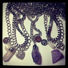 Collares con piedras amatista y quarzo, encontralos en facebook: morning glory shop