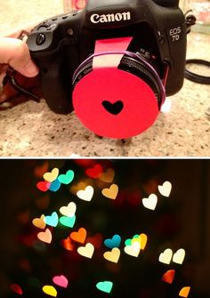 Efeito de coração nas fotos! Photography DIY : Hearts Bokeh Lens Hood tutorial here http://www.thespohrsaremultiplying.com/photo/photography-shaped-bokeh/ and here http://www.diyphotography.net/diy_create_your_own_bokeh