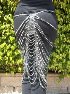 Art Deco Sparkle Skirt in Silver on Black. $45.00, via Etsy.