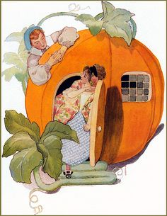 Peter, Peter pumpkin eater, Had a wife but couldn't keep her; He put her in a pumpkin shell And there he kept her very well. Vintage Children's Books, Vintage Art, Fairytale Art, Vintage Nursery, Mother Goose, Children's Book Illustration, Book Illustrations, Nursery Rhymes, Vintage Halloween