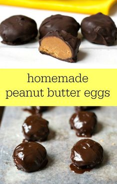 These homemade peanut butter eggs are such a delicious treat for Easter! This healthy recipe is a great alternative to the packaged version. You won't be able to stop eating them!