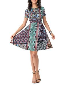 Print+Pique+Fit-and-Flare+Dress,+Blue/Teal+by+5Twelve+at+Neiman+Marcus+Last+Call.