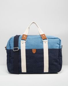 River+Island+Holdall+Bag+In+Two-Tone+Denim