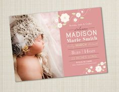 Photo Birth Announcement Girl by CalleyFlower on Etsy, $15.00