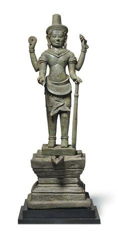 A bronze figure of Vishnu. Khmer, Angkor period, Bayon style, 13th century