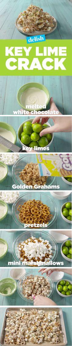 Key Lime Pie Crack 1 (12-oz.) package white chocolate chips 4 key limes 4 c. Golden Grahams cereal 2 c. mini pretzels 2 c. mini marshmallows