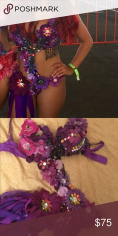 Purple fairy flower rave outfit Purple fairy flower rave bra rave outfit bra size 34dd bottoms Small. Tags electric laundry ravewear edc music festival Other