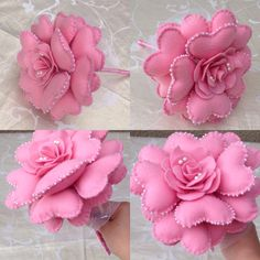 Buque de corações Felt Flower Bouquet, Felt Flowers, Fabric Flowers, Diy Home Crafts, Diy Arts And Crafts, Fun Crafts, Handmade Ornaments, Handmade Crafts, Fabric Crafts