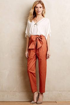 Bowtied Paperbag Crops - anthropologie.com