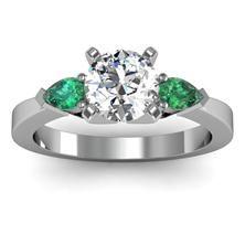 Emerald Round & Princess Diamond Engagement Ring set in 18k White Gold