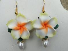 Plumeria Frangipani Flower Earrings with Pearl in Yellow by zawnbo, $11.00