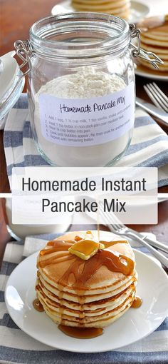 Homemade pancake mix, ready to go. Add wet ingredients, shake, then pour into…