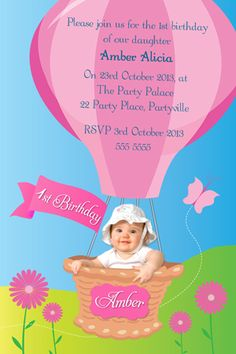 Birthday Invitation - Hot Air Balloon by Ink Pink Design