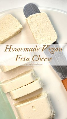 A Simple Tangy, Herby Vegan Feta Cheese Recipe. A wonderfully crumbly dairy-free cheese that's perfect for salads and topping all sorts of dishes. Vegan Recipes Videos, Tasty Videos, Dairy Free Recipes, Vegan Recipes Easy, Raw Food Recipes, Food Videos, Dessert Recipes, Greek Recipes, Gluten Free