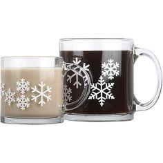 Snowflake Glass Mugs | Crate and Barrel