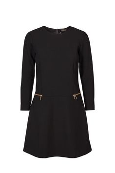 This perfect black dress is designed with a flattering loose top and A-line skirt. Finished with zipper detail at front and zipper closuring at back. We think it looks equally chic with sneakers or heeled boots, a versatile choice for all kind of events.