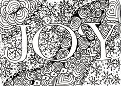 Printable DIY Zentangle JOY card 5x7 pdf from Kauai Hawaii Mele Kalikimaka Christmas doodle black white zentangle inspired art