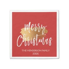 Merry Christmas Hand Lettered Script with Gold Paper Napkin - foil leaf gift idea special template