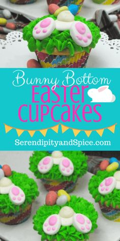Bunny Bottom Easter Cupcakes from Scratch ~ these cupcakes are so simple and delicious!  The perfect Easter dessert! http://serendipityandspice.com
