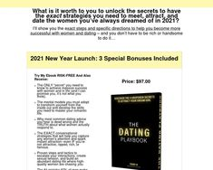 Product Name: Dating Playbook Click here to get Dating Playbook at discounted price while it's still available… All orders are protected by SSL encryption – the highest industry standard for online security from trusted vendors. Dating Playbook is backed with a 60 Day No Questions Asked Money Back Guarantee. If within the first 60 days …
