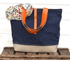 Eco friendly ORGANIC LINEN Tote bag Dark Indigo Large  French tote bag  with Orange Leather strap / Market tote Bag