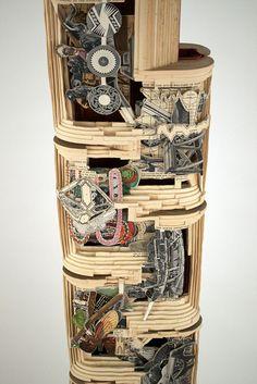 "Brian Dettmer,  Smith's Scientific Series (Detail),  2011,  Altered Books, Pedestal,  61-1/2"" x 10"" x 4"" (80"" x 12"" x 16"" w/ pedestal)  Image Courtesy of the Artist and Kinz + Tillou Fine Art"