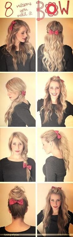 How to wear bows in hair. Just bought some, time to try em out.