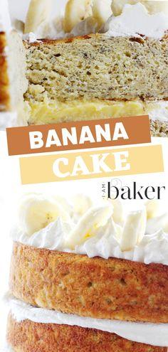 Banana Cake with Fresh Banana Curd Cake Recipes For Beginners, I Am Baker, Banana Recipes, Meals For One, Bananas, 3rd Birthday, Vanilla Cake, Lovers, Sweets