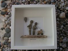 Pebble Pictures - Shop Now! Proving to be very popular are my unique pebble pictures for all occasions. They make fantastic gifts. Made from beach pebbles and drift wood primarily, have a lovely. Glass Art Pictures, Pebble Pictures, Stone Pictures, Seashell Painting, Pebble Painting, Stone Crafts, Rock Crafts, Beach Rock Art, Pebble Art Family