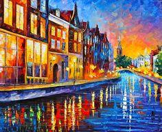 0049  Canal In Amsterdam Print by Leonid Afremov