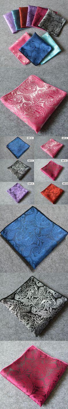 Mantieqingway Fashion Silk Pocket Squares Men Paisley Square Pocket Handkerchief Silk Paisley Men Wedding Square Pocket  24*24cm