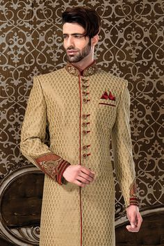 Wedding Sherwani, Jodhpuri Sherwani, Sherwani, Sherwani for Men, Western Sherwani. The attire gives a strong ethnic edge to men and has proved itself as one of the classic Indian attire not only in India but also globally. Indian Groom Wear, Indian Attire, Wedding Men, Wedding Suits, Blue Sherwani, Wedding Sherwani, Men's Collection, Formal Wear, Mens Suits