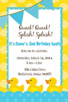 Hey, I found this really awesome Etsy listing at https://www.etsy.com/listing/173796029/rubber-duck-birthday-invitation