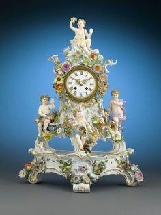 Meissen Four Elements Porcelain Mantel Clock 1875